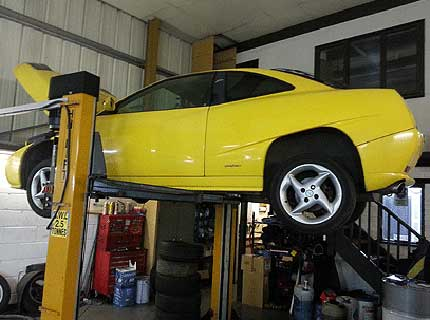Fiat sports coupe being repaired at Euromotors Sevenoaks