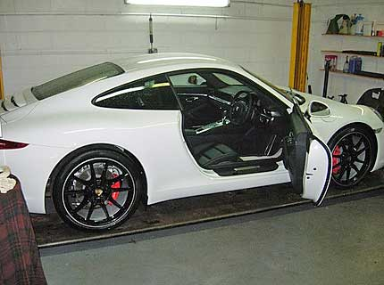 A Porsche Carrera being repaired at Euromotors Sevenoaks