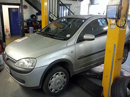 Vauxhall Corsa car being serviced at Euromotors Sevenoaks